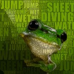 Frosch als Word-Cloud.